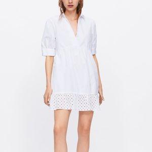 Zara white poplin eyelet detail dress